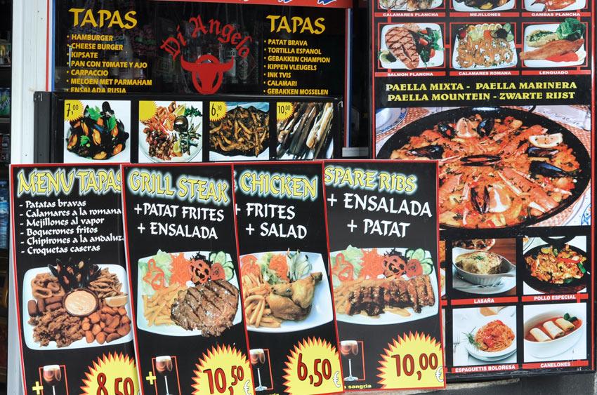 фрагмент меню в небольшом ресторанчике, Малград де Мар