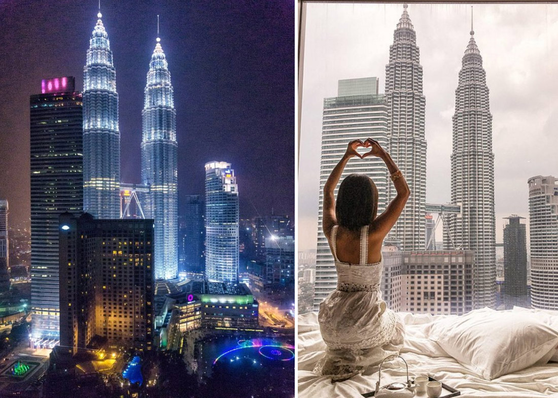 """На фото: вид на башни Петронас из окна отеля """"Grand Hyatt"""" в Куала Лумпур"""