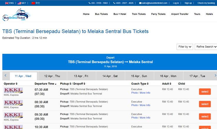 Онлайн покупка билетов на автобус Куала Лумпур - Мелакка