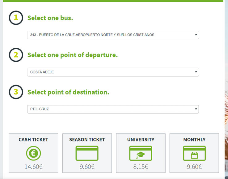 Цена билета на автобус, Тенерифе