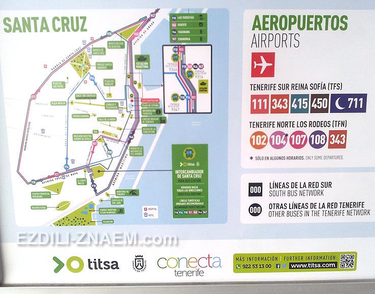 Автобусные маршруты в Санта-Круз, Тенерифе