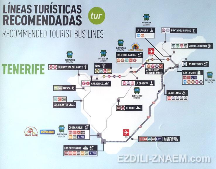 Карта автобусных маршрутов, Тенерифе