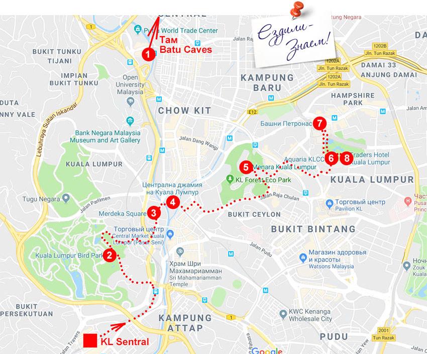 Достопримечательности Куала Лумпур на карте