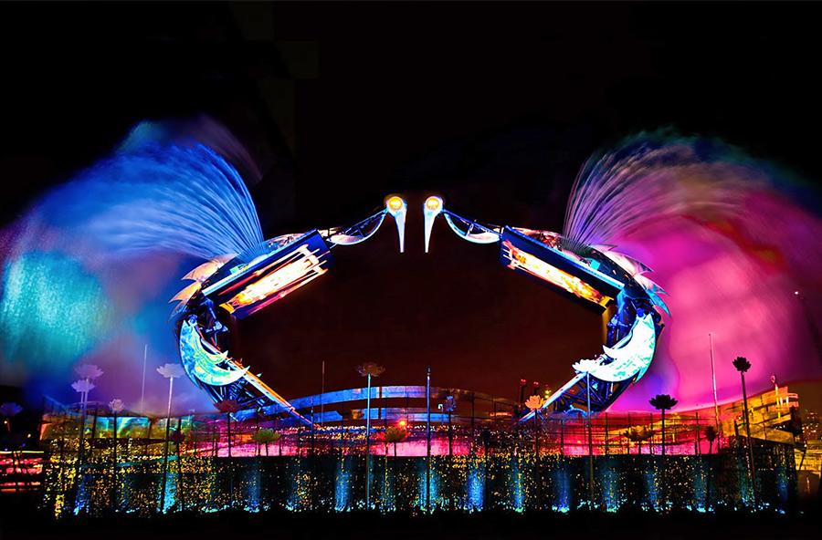 Шоу танцующих журавлей на Сентозе в Сингапуре