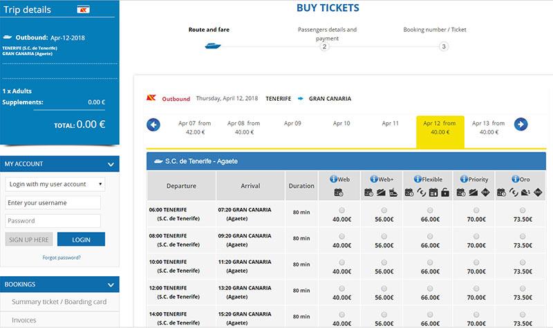 Цена билетов на паром Тенерифе - Гран-Канария