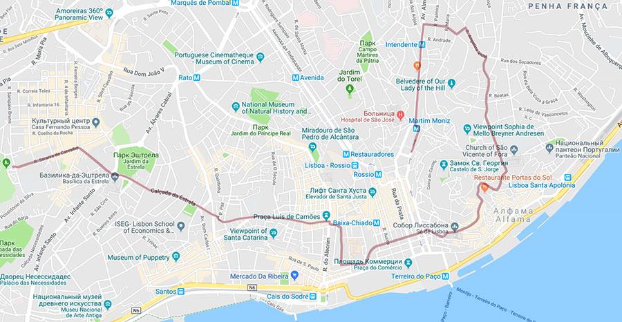 Трамвай 28 в Лиссабоне: карта маршрута.