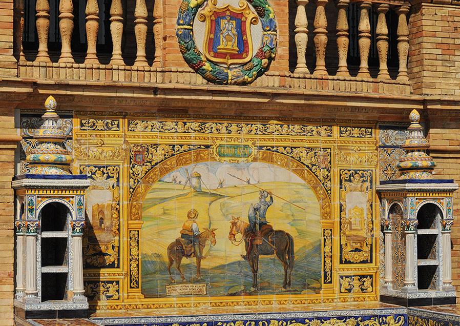 Расписные плитки на площади Испании в Севилье