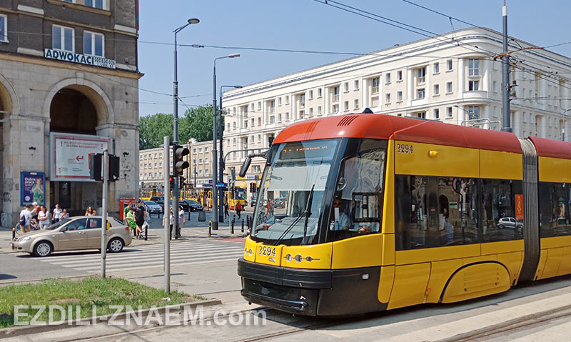 современные трамваи в Варшаве