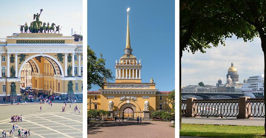 Что посмотреть в Петербурге: Дворцовая Площадь, Адмиралтейство, набережная Невы.