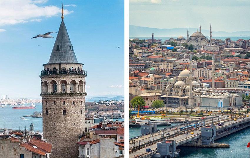 Башня Галата, вид с башни на мечети Стамбула