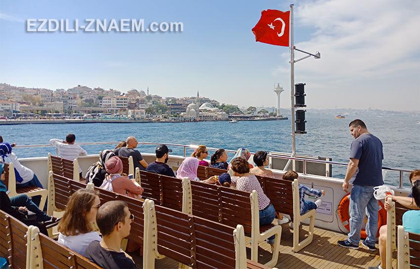 пассажиры на верхней палубе парома через Босфор, Стамбул