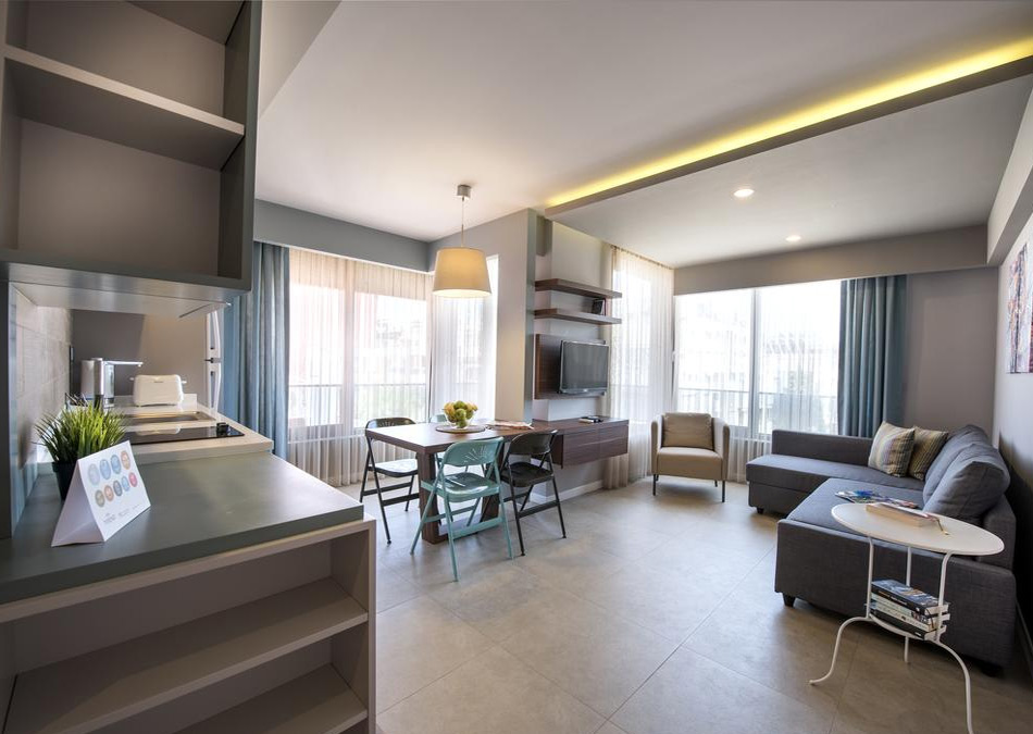 Гостиная в апартаментах в отеле Trend Suites, без звезд