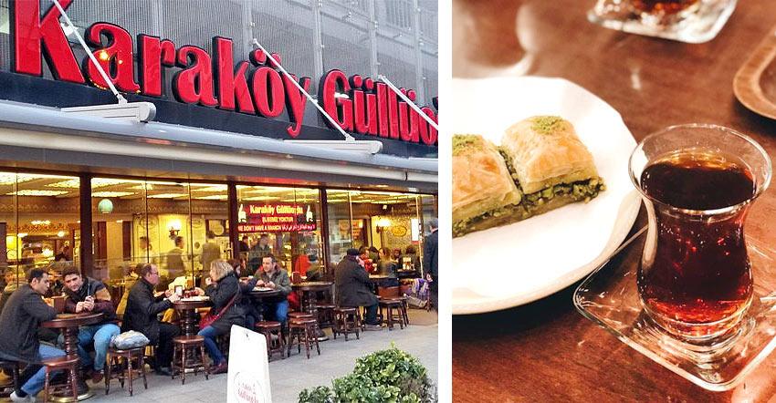 Пробуем пахлаву в кондитерской Karaköy Güllüoğlu в Стамбуле