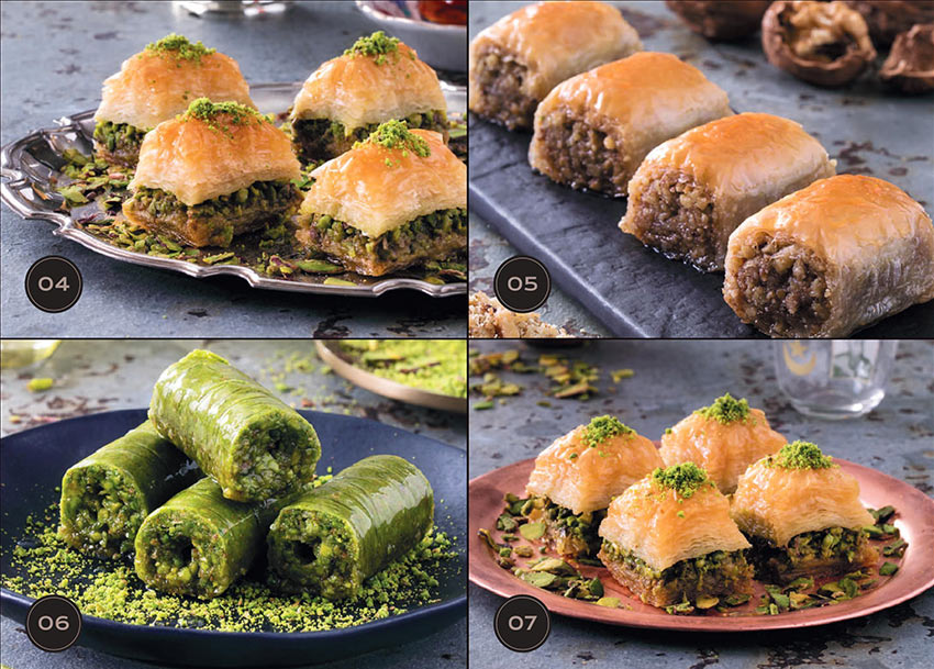 Турецкие сладости: разные виды пахлавы и долма. Стамбул