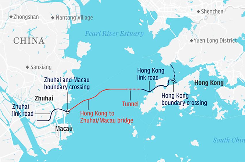 На карте новый мост Гонконг - Чжухай - Макао