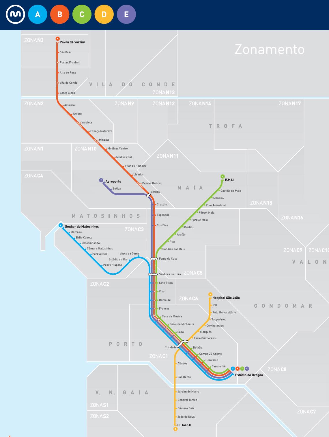 Карта метро в Порту
