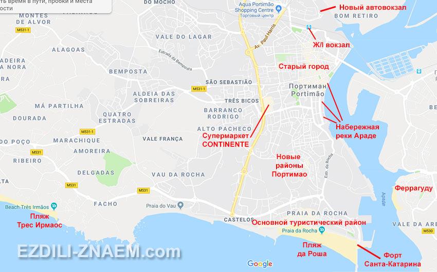 Карта Портимао