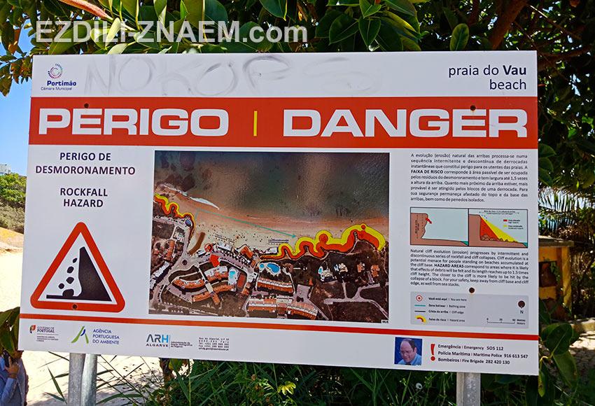 предупреждение для туристов на пляже в Портимао