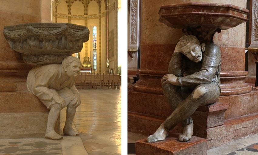 Каменные горбуны на входе в базилику Святой Анастасии в Вероне