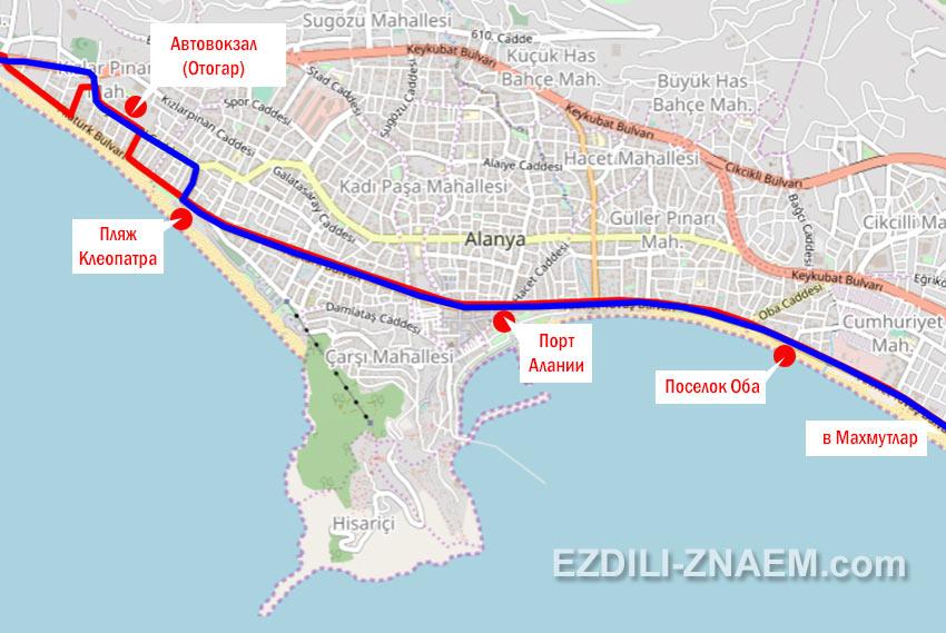 Схема движения автобуса №1 в Алании