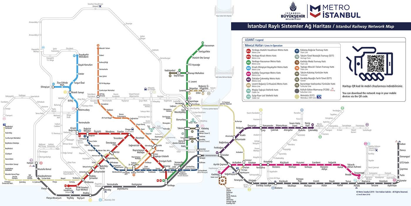 Карта метро и др. транспорта Стамбула