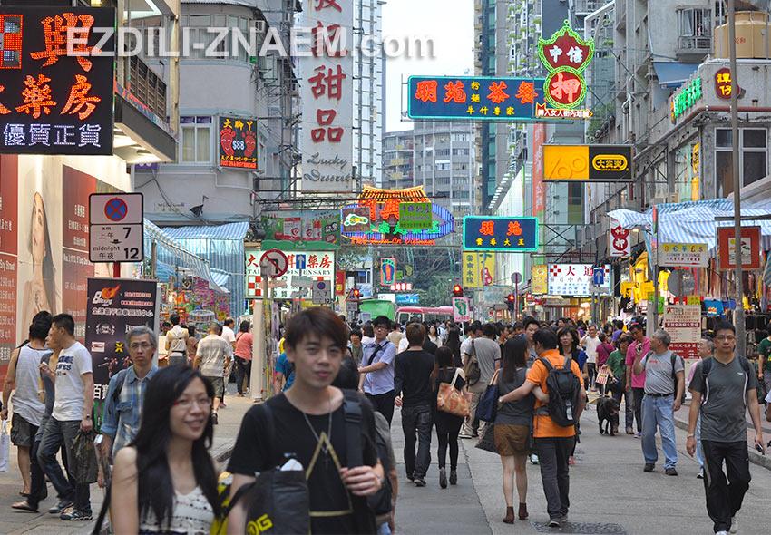 Улицы в районе Yau Ma Tei в Гонконге