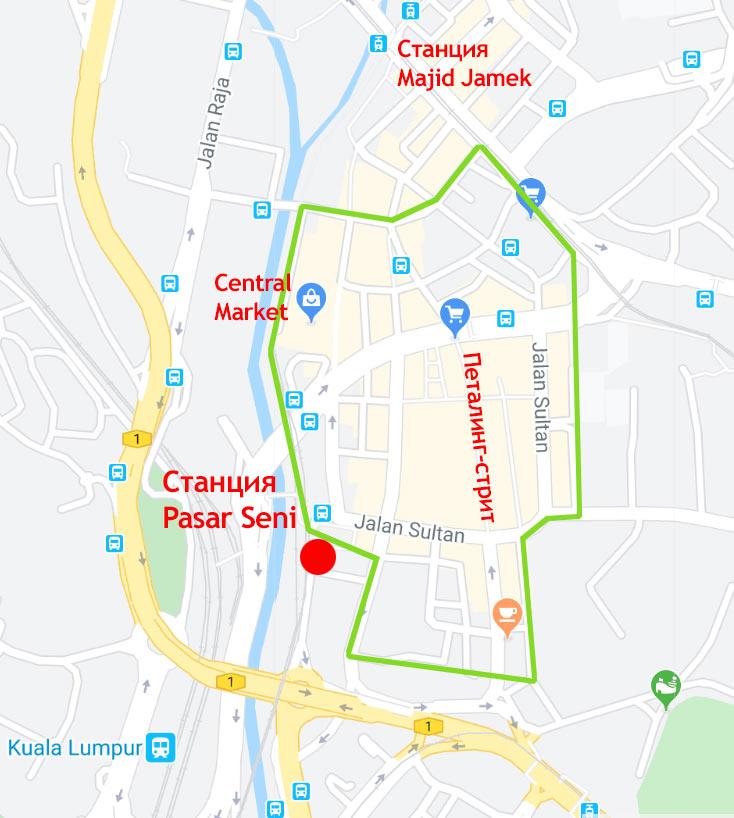 Китайский квартал на карте Куала Лумпур