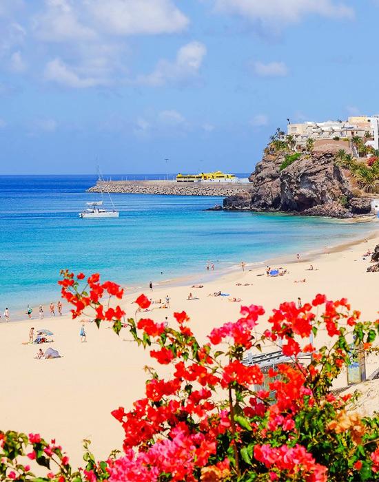 Пляж с Голубым флагом в Испании. Фуэртевентура, пляж Morro Jable