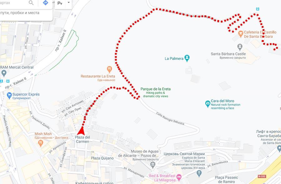 маршрут как подняться в крепость Санта-Барбара из центра Аликанте