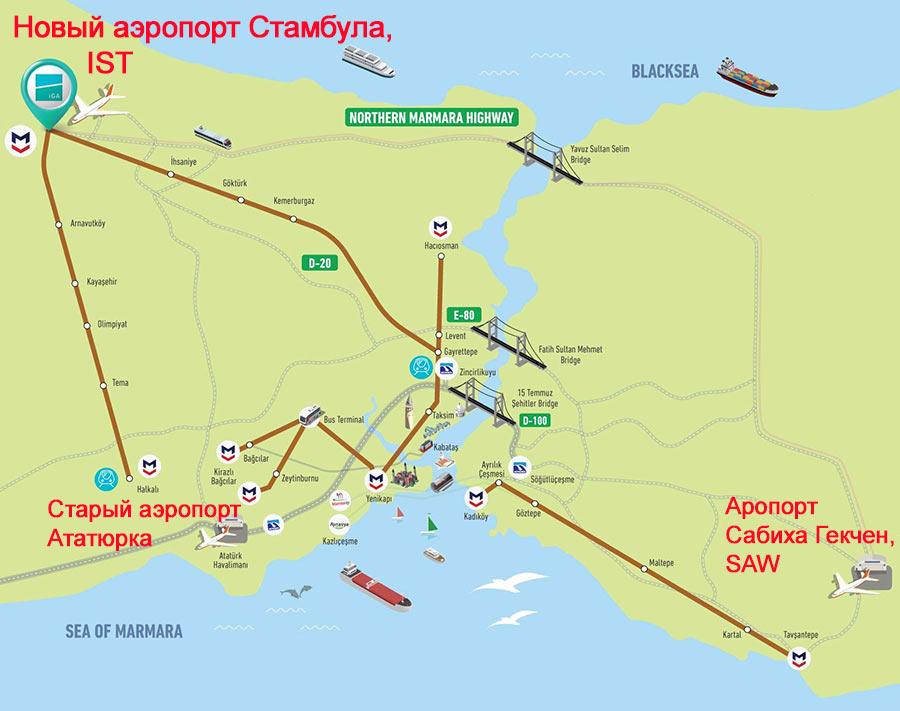 Новый аэропорт и аэропорт Сабиха Гекчен на карте Стамбула