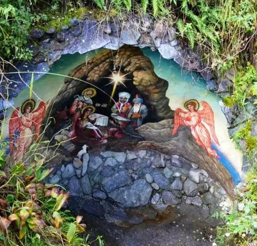 Фреска на скале на острове Патмос, пос. Чемал, Алтай