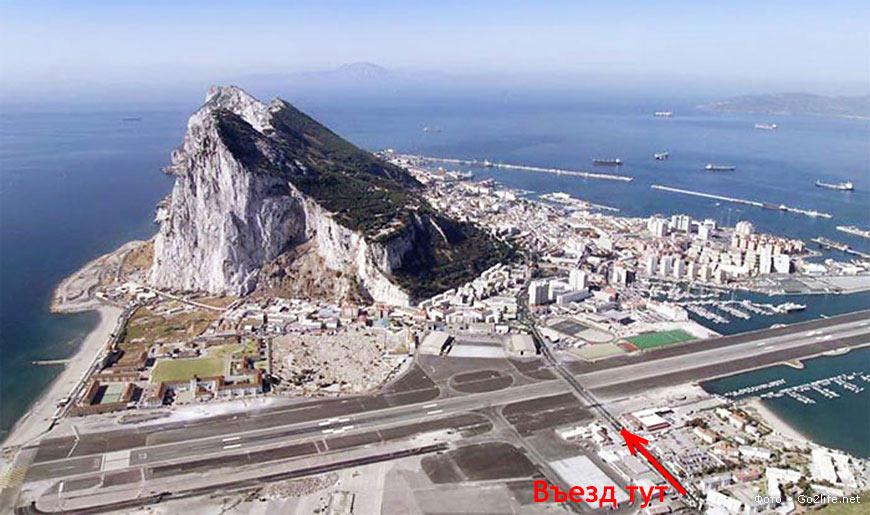 Вид сверху на взлетную полосу аэродрома Гибралтар