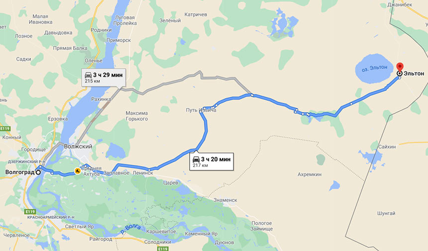 Озеро Эльтон на карте