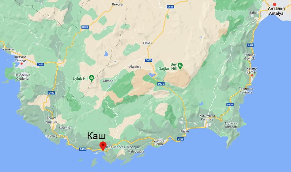 Каш на карте Турции