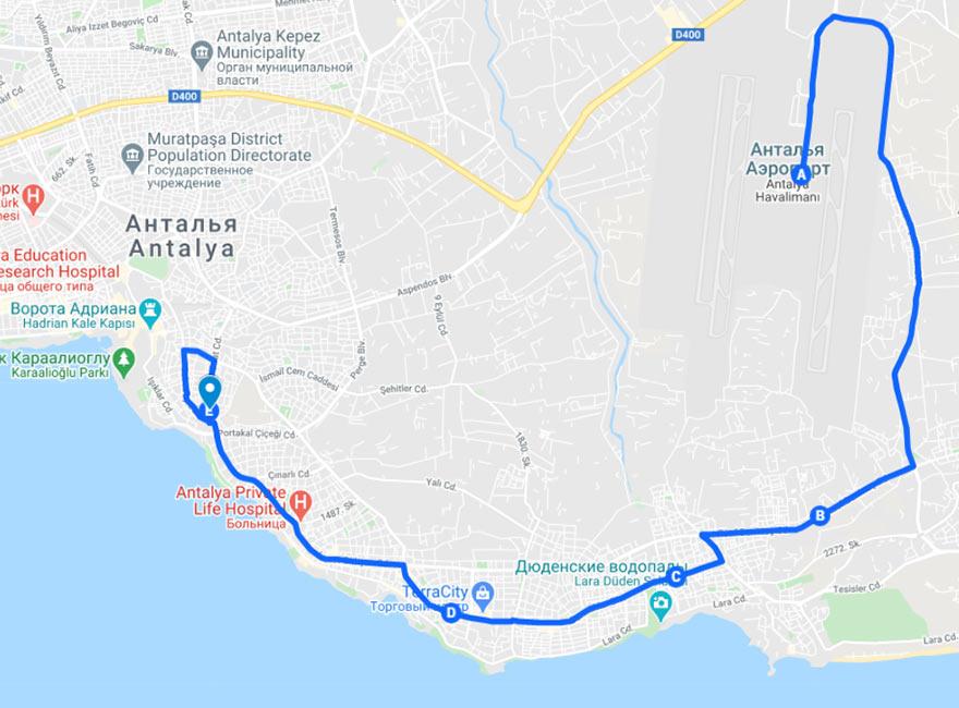 Карта маршрута автобуса 800 из аэропорта в Анталью