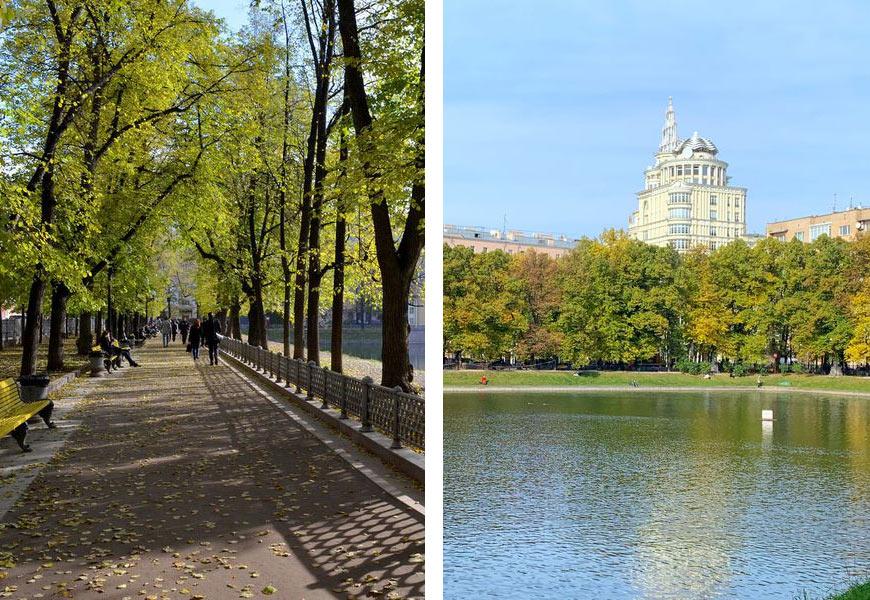 Парк Патриарших прудов в Москве