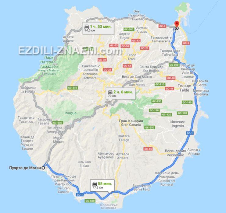 Пуэрто Моган на карте острова