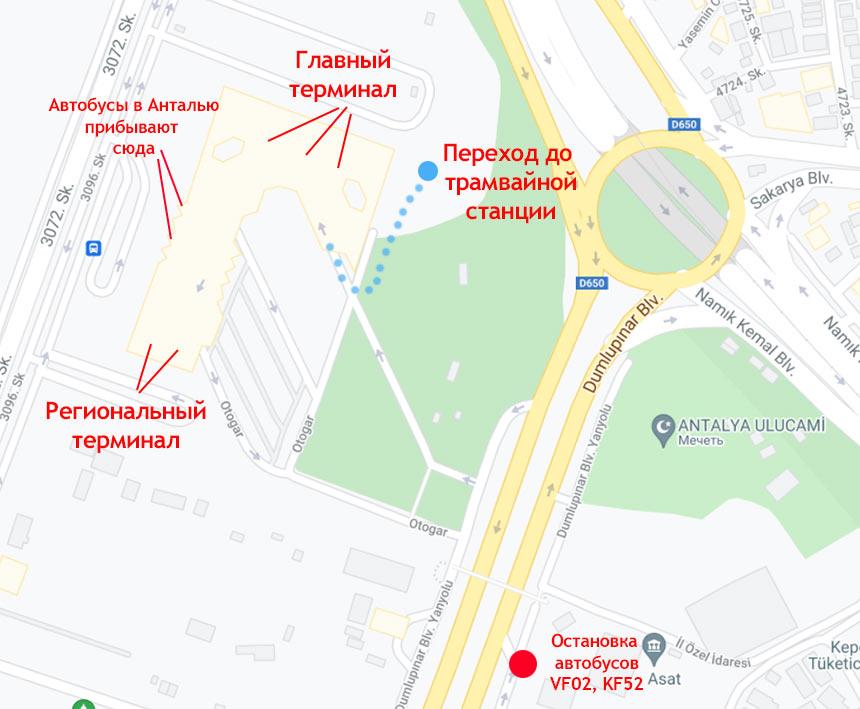 Автовокзал Анталии на гугл карте